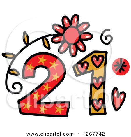 Clipart of a Colorful Sketched Patterned Number 21 - Royalty Free Vector Illustration by Prawny