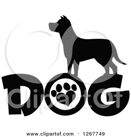 Clipart of a Black and White Silhouetted Canine over DOG Text with a Heart Shaped Paw Print in the Letter O - Royalty Free Vector Illustration by Hit Toon