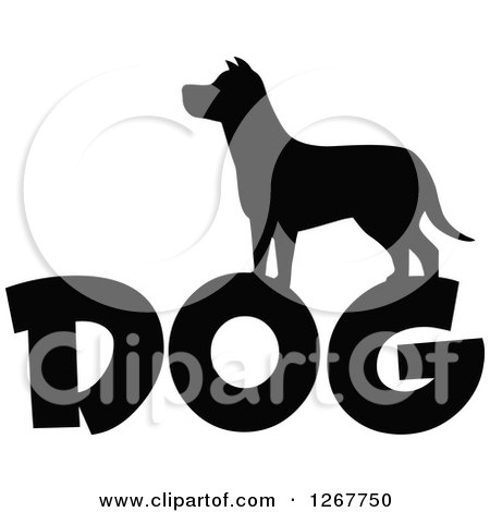 Clipart of a Black and White Silhouetted Dog over Text - Royalty Free Vector Illustration by Hit Toon