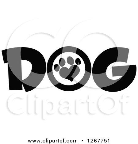 Clipart of Black and White Dog Text with a Heart Shaped Paw Print - Royalty Free Vector Illustration by Hit Toon