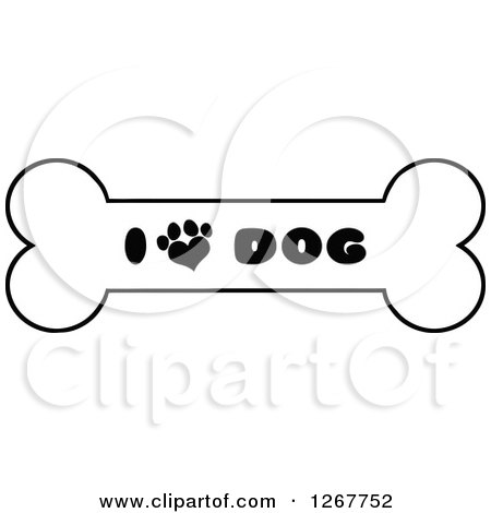 Clipart of a Black and White Bone with I Love Dog Text and a Heart Shaped Paw Print - Royalty Free Vector Illustration by Hit Toon