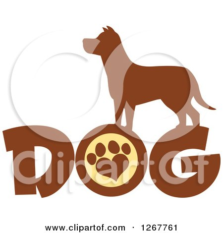 Clipart of a Brown Silhouetted Canine over DOG Text with a Heart Shaped Paw Print - Royalty Free Vector Illustration by Hit Toon