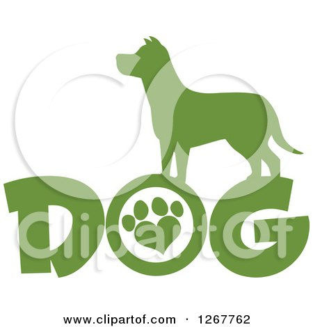 Clipart of a Green Silhouetted Canine over DOG Text with a Heart Shaped Paw Print - Royalty Free Vector Illustration by Hit Toon
