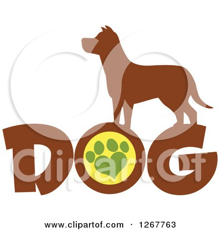 Clipart of a Brown Silhouetted Pooch over DOG Text with a Heart Shaped Paw Print - Royalty Free Vector Illustration by Hit Toon