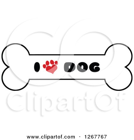 Clipart of a Bone with I Love Dog Text and a Heart Shaped Paw Print - Royalty Free Vector Illustration by Hit Toon