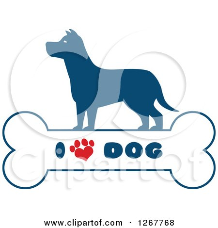 Clipart of a Blue Silhouetted Canine over a Bone with I Love Dog Text and a Heart Shaped Paw Print - Royalty Free Vector Illustration by Hit Toon