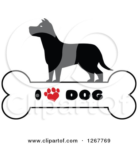 Clipart of a Silhouetted Canine over a Bone with I Love Dog Text and a Heart Shaped Paw Print - Royalty Free Vector Illustration by Hit Toon