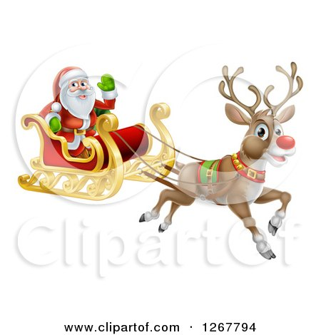 Clipart of a Red Nosed Reindeer Flying Santa in a Sleigh - Royalty Free Vector Illustration by AtStockIllustration