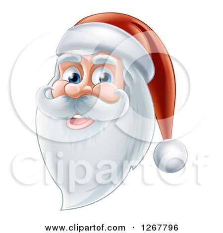 Clipart of a Happy Santa Face with a Beard - Royalty Free Vector Illustration by AtStockIllustration