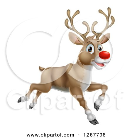 Clipart of a Happy Rudolph Red Nosed Reindeer Running or Flying - Royalty Free Vector Illustration by AtStockIllustration