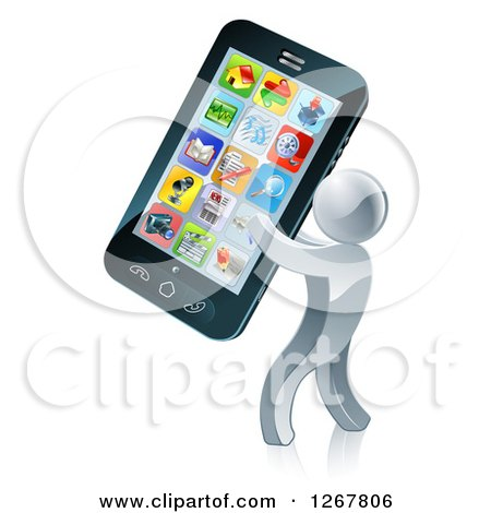 Clipart of a 3d Silver Man Carrying a Giant Smart Phone - Royalty Free Vector Illustration by AtStockIllustration