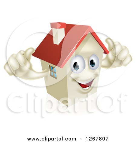 Clipart of a Happy House Character Holding Two Thumbs up - Royalty Free Vector Illustration by AtStockIllustration