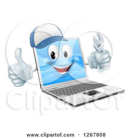 Clipart of a 3d Happy Laptop Computer Repair Character Holding a Wrench and Thumb up - Royalty Free Vector Illustration by AtStockIllustration
