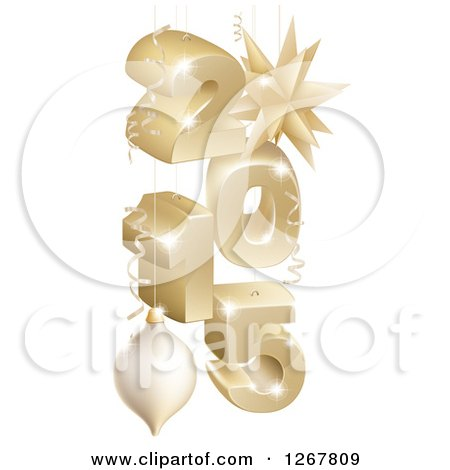Clipart of a 3d Suspended Gold 2015 New Year Numbers with Ornaments and Ribbons - Royalty Free Vector Illustration by AtStockIllustration