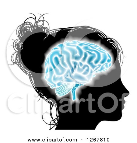 Clipart of a Silhouetted Woman's Head with a Glowing Blue Brain - Royalty Free Vector Illustration by AtStockIllustration