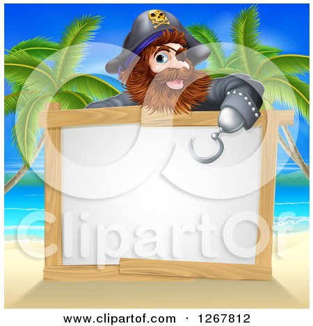 Clipart of a Male Pirate Pointing down over a Blank Sign with His Hook Hand on a Tropical Beach - Royalty Free Vector Illustration by AtStockIllustration