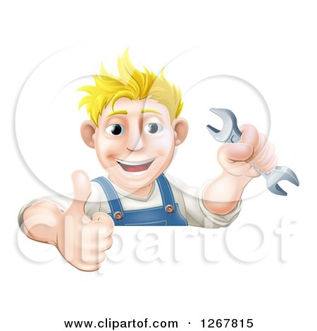 Happy Blond Caucasian Mechanic Man Holding a Wrench and Thumb up over a Sign Posters, Art Prints