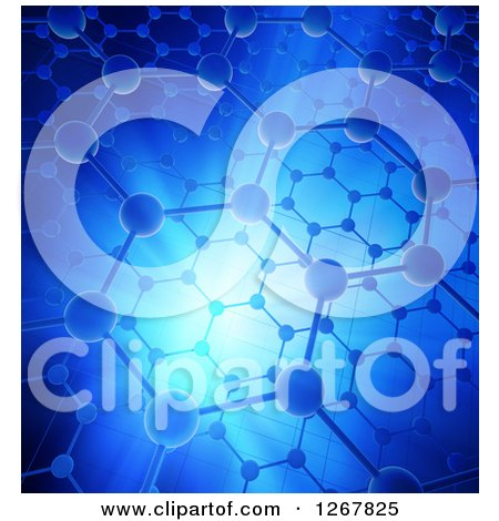 Clipart of a Nanotechnology Graphene Atomic Structure with Blue Lighting - Royalty Free Illustration by Mopic