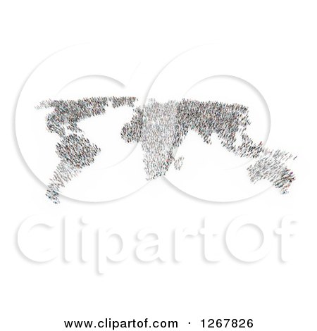 World Map Formed of People over White Posters, Art Prints