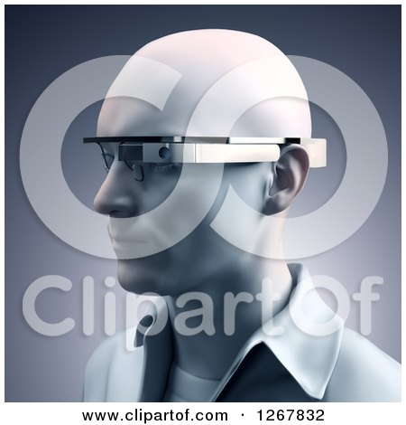 Clipart of a 3d Man Wearing Google Glass Eyewear - Royalty Free Illustration by Mopic