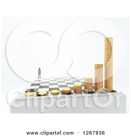 Clipart of a 3d Chess Board with a Man and Growing Stacks of Coins over Shaded White - Royalty Free Illustration by Mopic