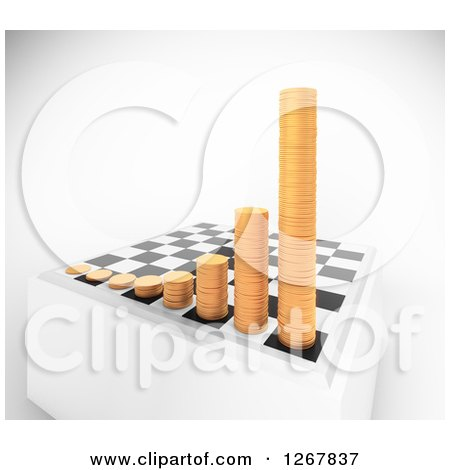 Clipart of a 3d Chess Board with Growing Stacks of Coins over Shaded White - Royalty Free Illustration by Mopic
