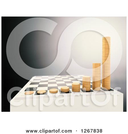 Clipart of a 3d Chess Board with Growing Stacks of Coins over Gray - Royalty Free Illustration by Mopic