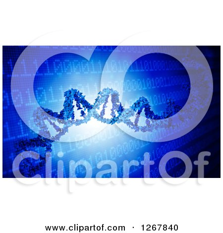 Clipart of a 3d Dna Strand over Binary Computing Code Conceptualizing Biohacking - Royalty Free Illustration by Mopic