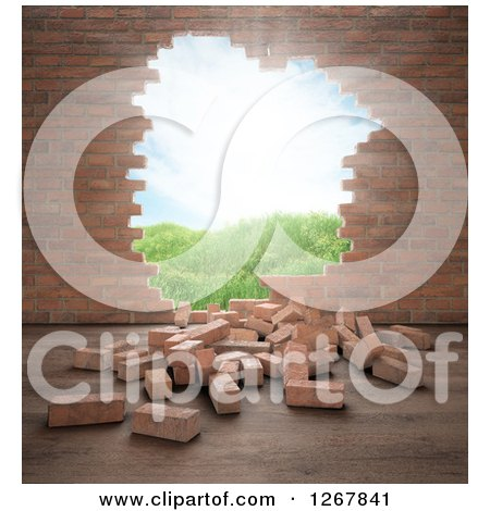 Clipart of a 3d Brick Wall with a Hole and View of an Outdoor Landscape - Royalty Free Illustration by Mopic