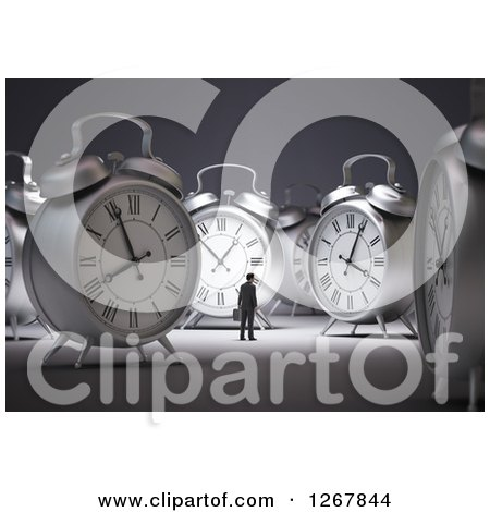 Clipart of a 3d Tiny Businessman Surrounded by Metal Alarm Clocks - Royalty Free Illustration by Mopic