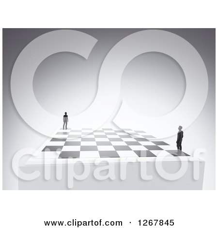 Clipart of a 3d Chess Board with Men in Opposite Corners - Royalty Free Illustration by Mopic