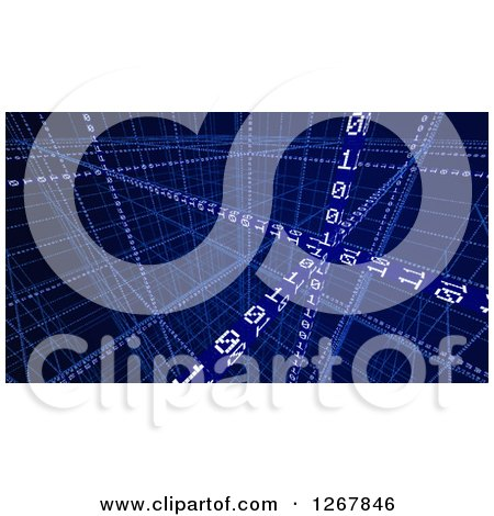 Clipart of a 3d Escher Styled Binary Code Background in Blue - Royalty Free Illustration by Mopic