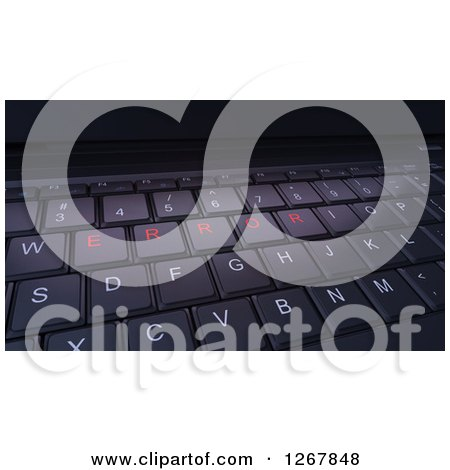 Clipart of a 3d Computer Keyboard with Error Buttons - Royalty Free Illustration by Mopic