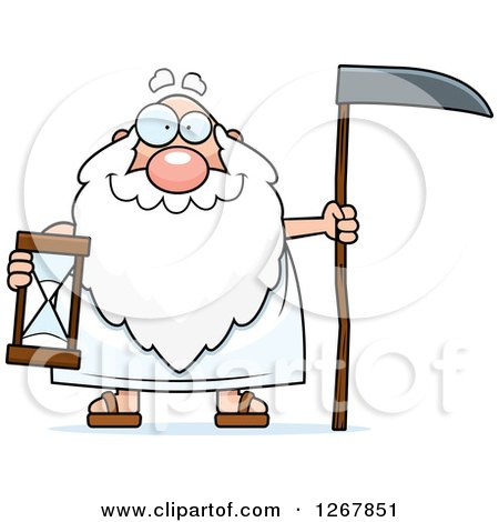 Clipart of a Happy Father Time Senior Man Holding a Scythe and Hourglass - Royalty Free Vector Illustration by Cory Thoman