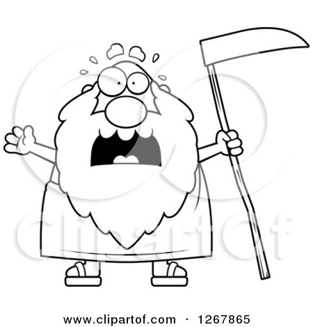 Clipart of a Happy Father Time Senior Man Holding a Scythe and ...