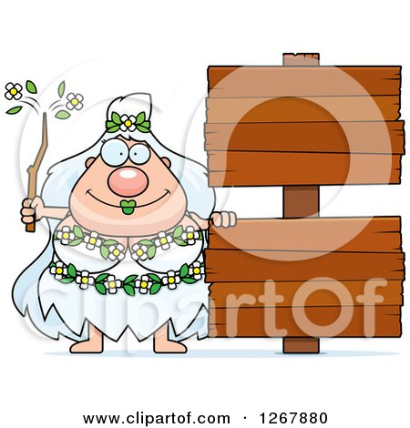 Clipart of a Happy Chubby Mother Nature or Hippie Woman with Blank Wooden Signs - Royalty Free Vector Illustration by Cory Thoman