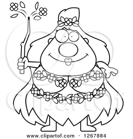 Clipart of a Black and White Happy Chubby Mother Nature or Hippie Woman - Royalty Free Vector Illustration by Cory Thoman