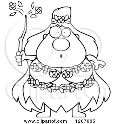 Clipart of a Black and White Surprised Chubby Mother Nature or Hippie Woman - Royalty Free Vector Illustration by Cory Thoman