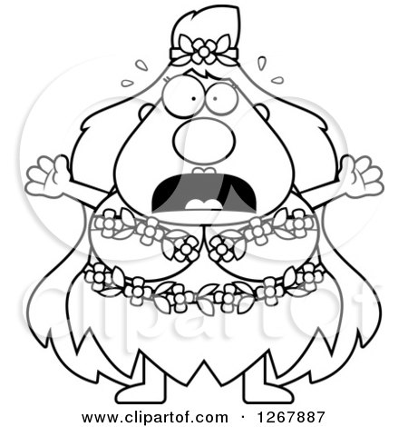 Clipart of a Black and White Scared Screaming Chubby Mother Nature or Hippie Woman - Royalty Free Vector Illustration by Cory Thoman