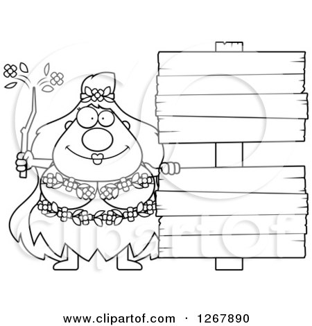 Clipart of a Black and White Happy Chubby Mother Nature or Hippie Woman with Blank Wooden Signs - Royalty Free Vector Illustration by Cory Thoman