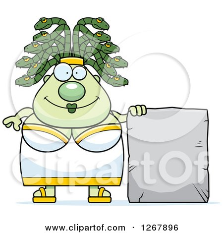 Clipart of a Chubby Gorgon Medusa Woman with Snake Hair and Blank Stone Sign - Royalty Free Vector Illustration by Cory Thoman