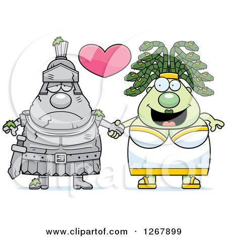 Clipart of a Chubby Gorgon Medusa Woman Holding Hands with a Stone Knight - Royalty Free Vector Illustration by Cory Thoman