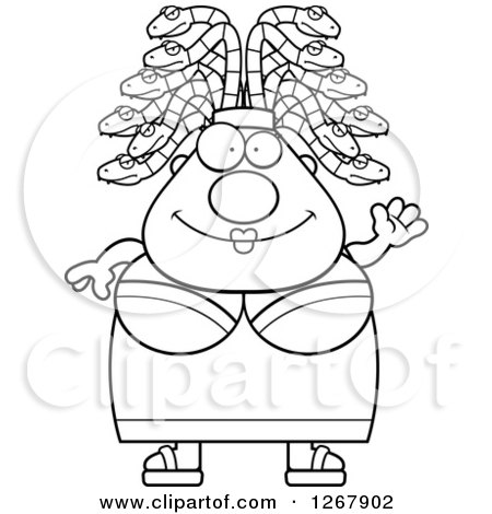 Clipart of a Black and White Friendly Waving Chubby Gorgon Medusa Woman with Snake Hair - Royalty Free Vector Illustration by Cory Thoman