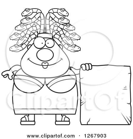 Clipart of a Black and White Chubby Gorgon Medusa Woman with Snake Hair and Blank Stone Sign - Royalty Free Vector Illustration by Cory Thoman