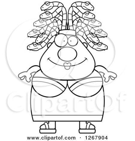 Clipart of a Black and White Happy Chubby Gorgon Medusa Woman with Snake Hair - Royalty Free Vector Illustration by Cory Thoman