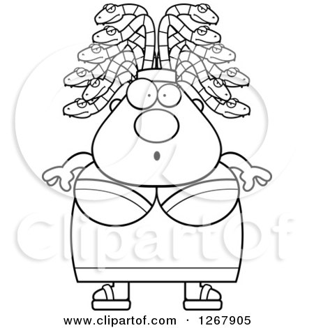 Clipart of a Black and White Surprised Chubby Gorgon Medusa Woman with Snake Hair - Royalty Free Vector Illustration by Cory Thoman