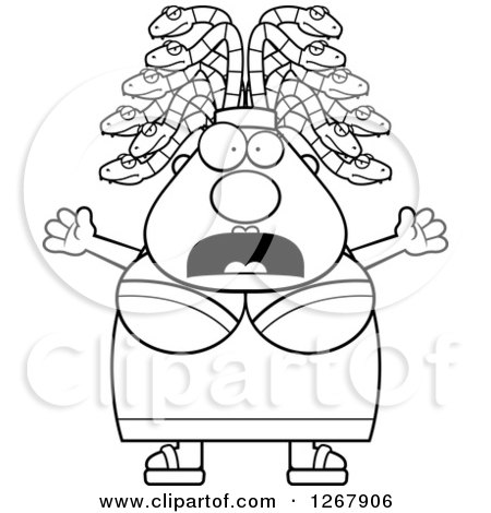Clipart of a Black and White Scared Screaming Chubby Gorgon Medusa Woman with Snake Hair - Royalty Free Vector Illustration by Cory Thoman