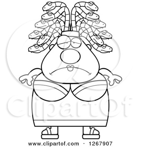 Clipart of a Black and White Depressed Chubby Gorgon Medusa Woman with Snake Hair - Royalty Free Vector Illustration by Cory Thoman