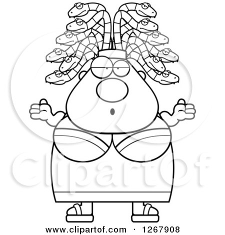 Clipart of a Black and White Careless Shrugging Chubby Gorgon Medusa Woman with Snake Hair - Royalty Free Vector Illustration by Cory Thoman