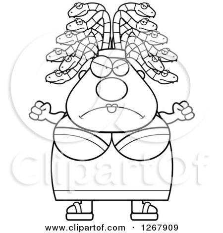 Clipart of a Black and White Mad Chubby Gorgon Medusa Woman with Snake Hair - Royalty Free Vector Illustration by Cory Thoman